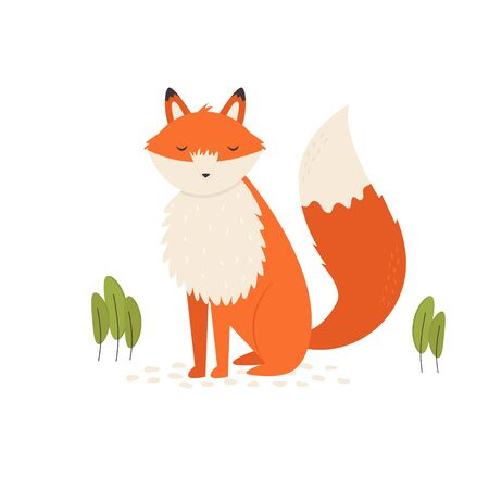 Vector illustration of a nice ginger fox on a lawn
