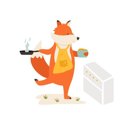 A Cute fox cooking breakfast. Vector illustration.