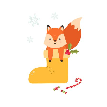 Christmas holiday card with a cute fox in a boot Çizim