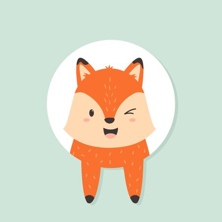 Cute winking fox looking out from greeting card. Vector illustration for birthday card, greetings, Baby Shower Ilustração