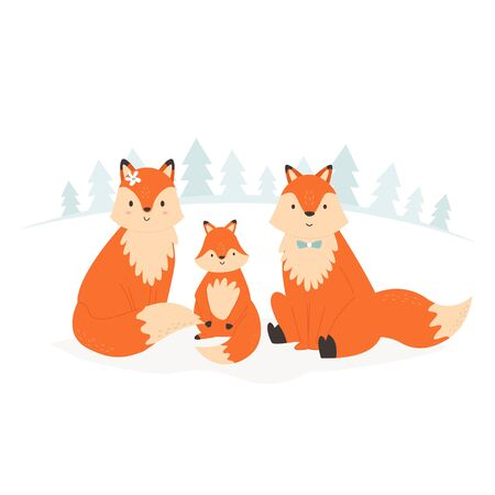 Funny fox family sitting in a forest. Vector illustration of smiling animals.