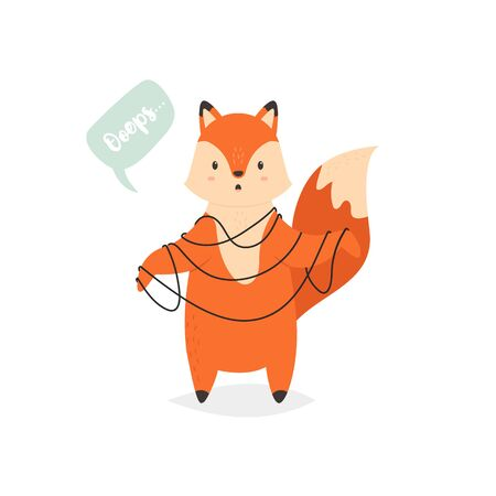 Funny playful fox tied with strings. Cute animal character for prints, birthday cards