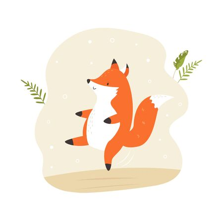 Cheerful dancing cute fox. Vector illustration. Animal character design. Baby print isolated on white background