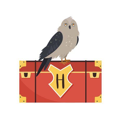 Owl sitting on a trunk. Cute animal design
