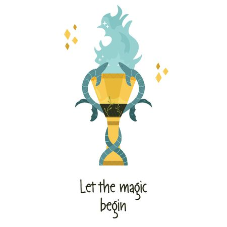 Vector illustration of magic goblet of fire