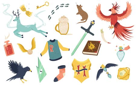 Big bright set with magic creatures, animals and elements. Flat vector illustration for your design Ilustracja