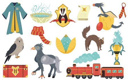 Grand ensemble lumineux avec des créatures magiques, des animaux et des éléments. Illustration vectorielle plane pour votre conception