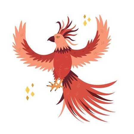 Fantastic bird phoenix in a flat style. Vector animal, fabulous creature design