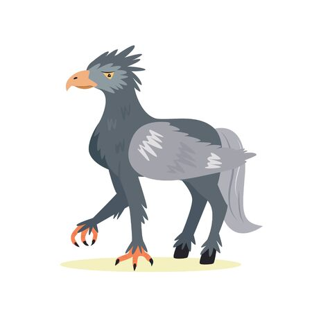 Funny cute hippogriff in a flat style. Vector illustration. Magic fantastic creature design