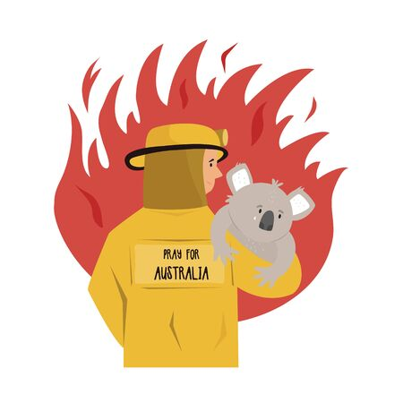 Flat illustration of a fire fighter rescuing koala Stok Fotoğraf - 137166748