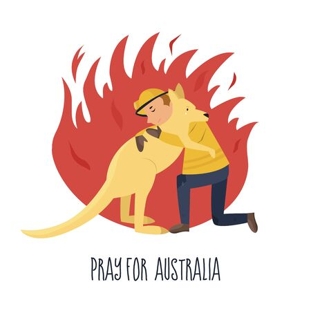 Flat illustration of a brave fire fighter rescuing kangaroo from fire