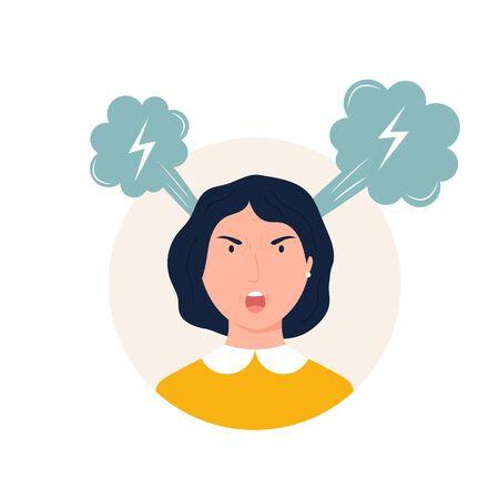 Vector illustration of a shouting angry girl. Bad mood, sad feelings concept