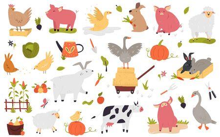 Big set of funny farm animals cow, piglet, rabbit, hen, goose, goat sheep