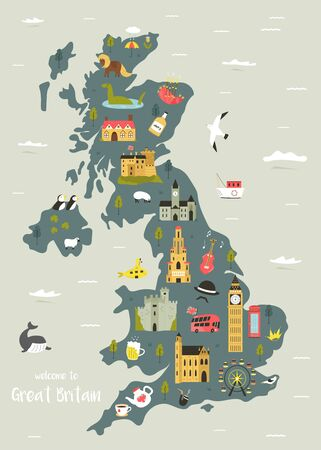Vector map of Great Britain with famous symbols