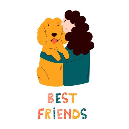 Girl embracing her spaniel dog. Friendship concept. Colorful vector cartoon illustration