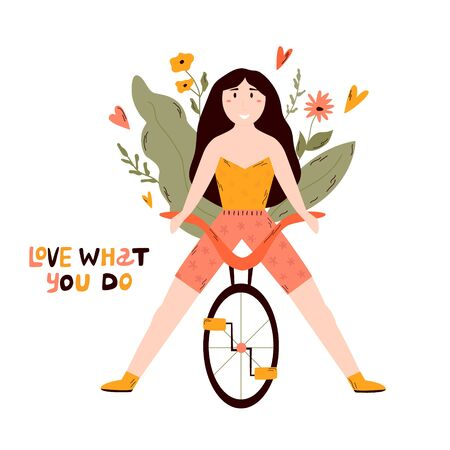 Young happy girl riding bicycle. LOVE WHAT YOU DO lettering text. Cheerful woman bicyclist