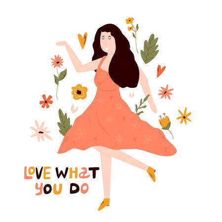 Young happy dancing girl. LOVE WHAT YOU DO text. Illustration