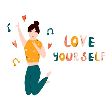Young jumping woman. Lettering text love yourself