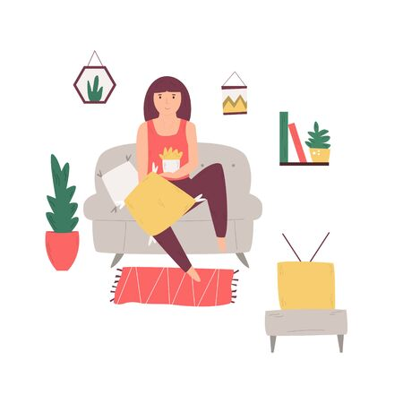 Young girl sitting on a couch, eating popcorn and watching television. Vector illustration