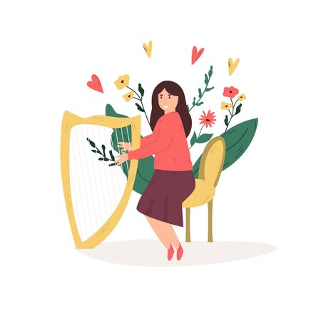 Young musician girl playing harp, Favorite hobby, leisure time. Vector illustration