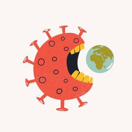 Coronavirus monster eating planet. Dangerous virus
