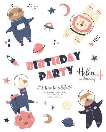 Birthday cosmic card with cute animals. Greeting poster, invitation template Ilustração