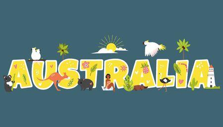Tourist poster with famous symbols and animals of Australia. Explore Australia concept image. For banner, travel guides Ilustração