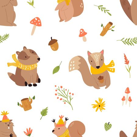 Cute seamless pattern with funny forest animals Illustration