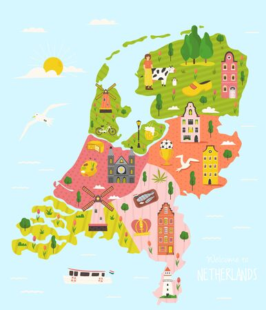 Illustrated map of Netherlands with traditional buildings and symbols. Bright design for tourist posters, banners, leaflets, prints