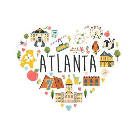 Touristisches Plakat mit traditionellen Gebäuden, berühmten Symbolen von Atlanta. Erkunden Sie das Bild des Stadtkonzepts. Skyline der Stadt, Stadtbild