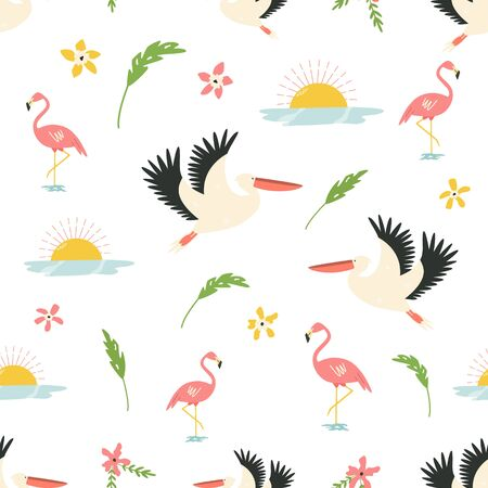 Seamless pattern in a flat style with african animlas