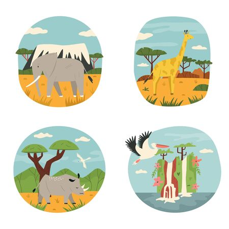 Set of abstract design with African animals elephant, rhino, giraffe, pelican. Vector illustration of animals in Natural parks Ilustração