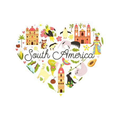 Decorative banner with famous symbols, animals of South America. Explore Latin America concept image. For banner, travel guides