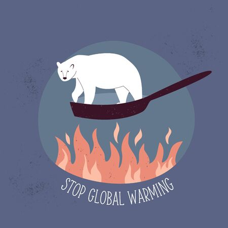 Eco poster STOP GLOBAL WARMING with polar bear suffering from temperature rising. Vector illustration