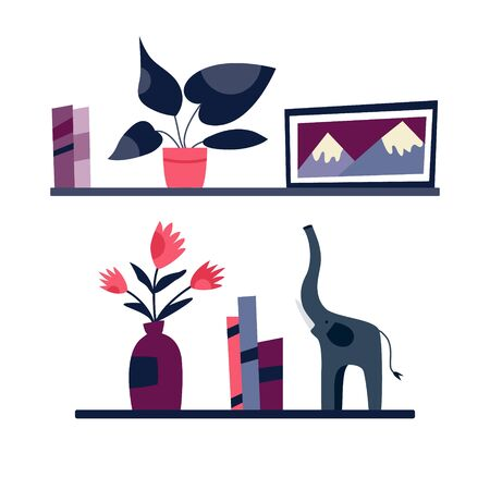 Bookshelves with decorative elements plants in pots, pictures, statues on white background. Simple design