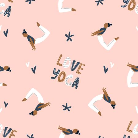 Seamless pattern with characters in yoga asanas