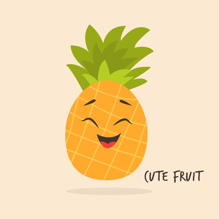 Funny pineapple character design Vector illustration