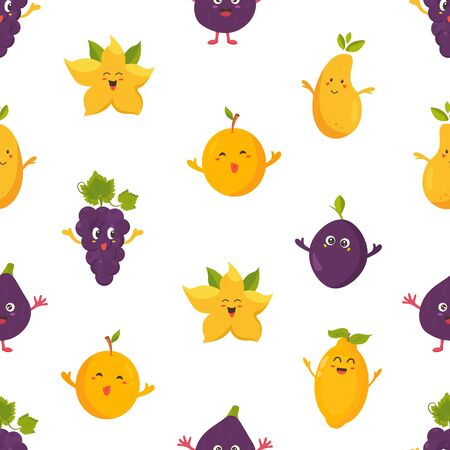 Seamless pattern with funny fruits pear, plum, grape, dragon fruit Ilustração