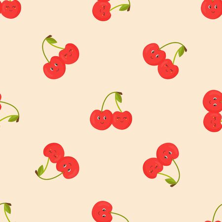 Seamless pattern with funny cute sweet cherry.