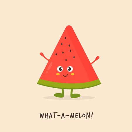 Funny watermelon character design Vector illustration