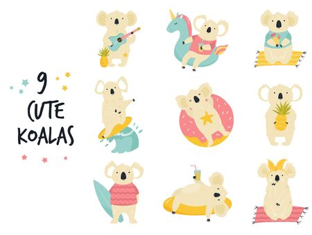 Set of cute funny koalas in a relaxing mood. Vector illustration of mischief characters.