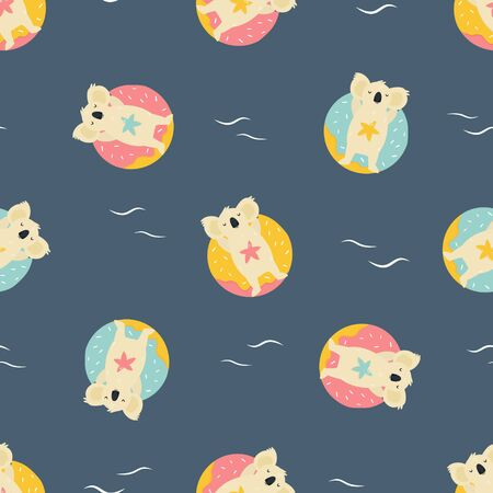 Colorful seamless pattern with cute koalas. Bright design for clothing. greeting cards, gist box, wrapping paper