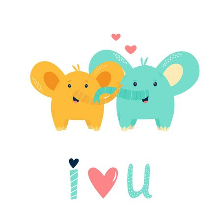 Two cute happy elephants in love. Vector illustration for baby shower cards, invitations, kids prints