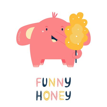 Happy little elephant with cotton candy. Vector illustration for baby shower cards, invitations, kids prints Ilustração