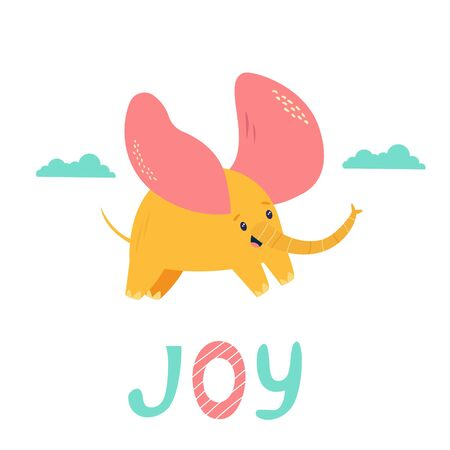 Little elephant with big ears flying in the sky. Vecor illustration for baby shower cards, invitations, kids prints