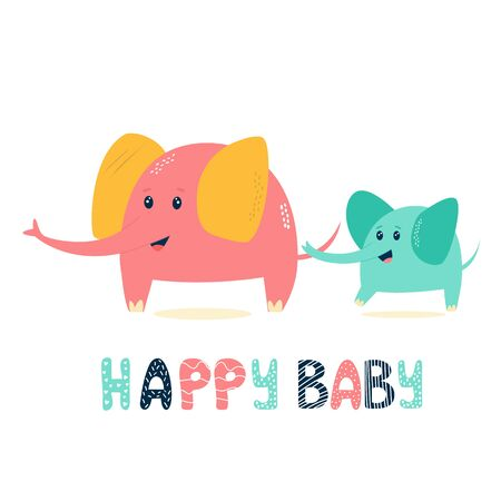 Cute elephant family, mother and her baby. Vector illustration for baby shower cards, invitations, kids prints Ilustração