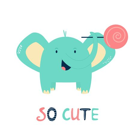 Funny little elephant with stick candy. Vector illustration for baby shower cards, invitations, kids prints Ilustração