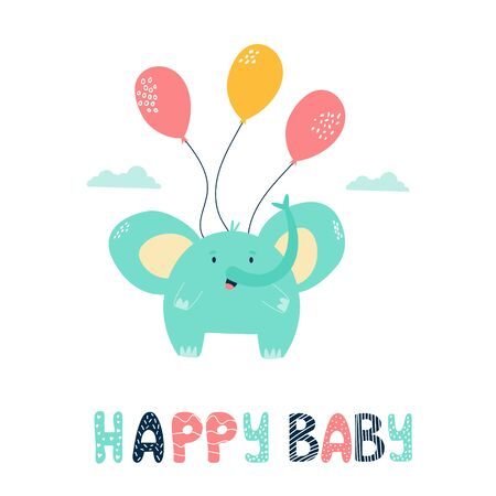 Little cute elephant flying with balloons. Vector illustration for baby shower cards, invitations, kids prints