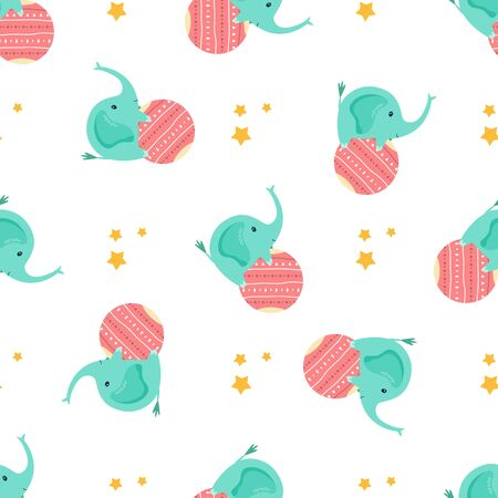 Seamless pattern, texture with cute bright little elephants. For childish prints, decorations. clothes, textile. Vector illustration