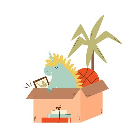 Paper cardboard box full of stuff. unicorn toy, basketball ball, books. Relocating, moving concept. Vector illustration